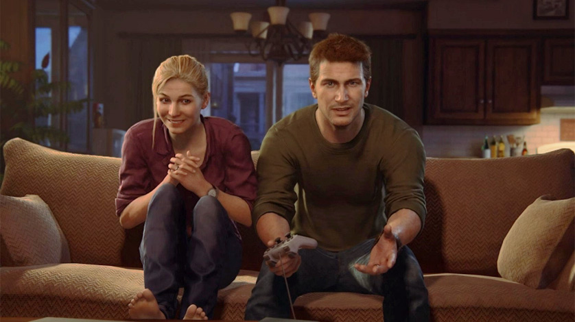 Uncharted 4 Elena and Drake playing ps1 scene crash bandicoot 1